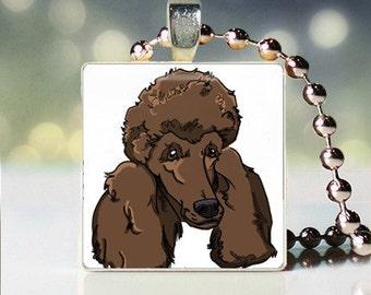 Scrabble tile pendant charm of chocolate Poodle