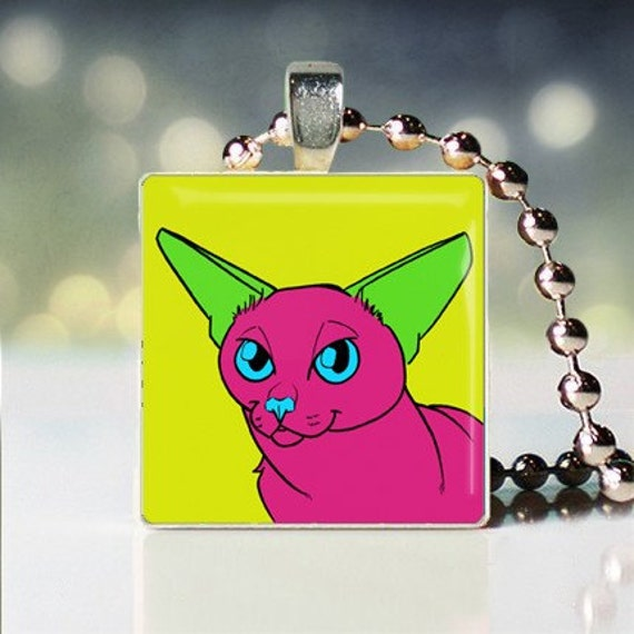 Scrabble tile pendant of Andy Warhol style Burmese 2