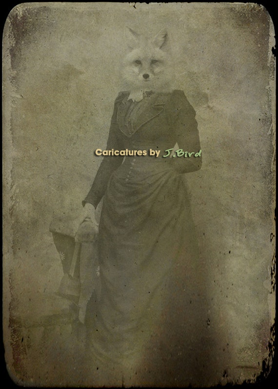 Fox Artwork 5x7-  Lady Minerva - Fox Art - Fox Print - Fox Photograph - Fox Decor - Gift for Fox Lover
