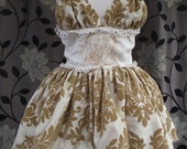 Victorian Style dress halter with eyelets closure baloon skirt in velvet cotton.