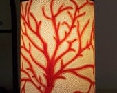 Mini Accent Lamp Red Coral Pierced Lamp Shade on Black 3 Leg Lamp