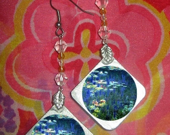 Waterlilies Monet Beaded Earrings