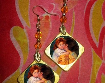 Mary Cassatt MATERNAL KISS Beaded EARRINGS