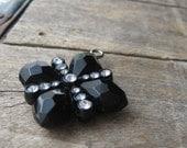 art deco lucite black and rhinestone pendant