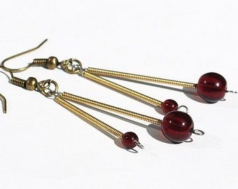 Guitar String Jewelry- Garnet Red Bead Earrings, Brass Drop Upcycled Guitar String Earrings, Music Jewelry, Guitar Player Gift
