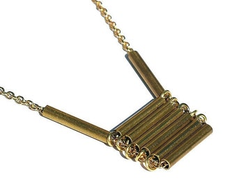 Brass Modern Minimal Necklace- Brass Bar Necklace, Salvaged Brass Jewelry, Brass Necklace, Ladder Necklace, Contemporary Jewelry