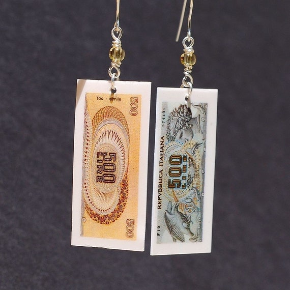 Italian Jewelry- Upcycled Italian Lira Earrings, Italian Earrings, Italy Jewelry, Money Jewelry, Silver & Amber Glass Bead Earrings