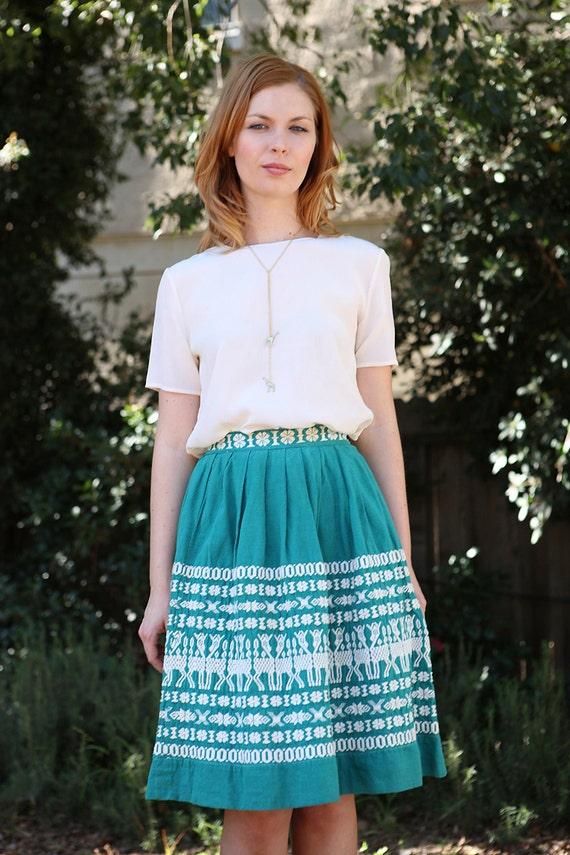 Vintage 1960's Guatemalan ethnic embroidered Kelly green midi skirt