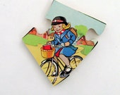 Mid Century Bike Ride Brooch - Lapel Pin / Yellow - Green - Blue - Red / Upcycled 60s UK Wood Puzzle Piece / Bicycle / OOAK