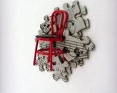 Musical Chair Brooch - Lapel Pin / Red Chair and Gray, White and Black Sheet Music Puzzle Pieces / Unique Gift Under 50