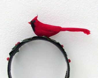 Red Cardinal Holiday Headband / Christmas Head Piece / Red Bird - Green Holly / Party Fashion Wear / Gift Under 50