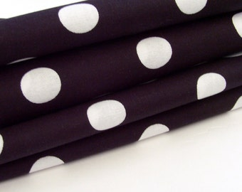 Black & White Polka Dot Cotton Napkins / Set of 4 / Large White Dots on Black Contemporary Eco-Friendly Table Decor / Unique Gift Under 50