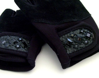 Black Bejeweled Strength Training Gloves / Ladies Black Vegan Suede & Leather Gloves - Faux Jewels / Made-To-Order Gift Under 50