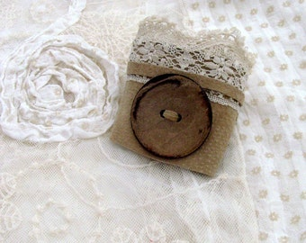 Rustic Romance Beige Suede Cuff / Upcycled Beige - Tan Suede, Vintage Cream Lace & Coconut Button / OOAK / Unique Gift Under 35