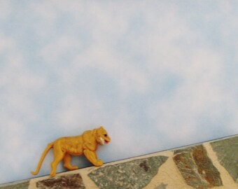 Lioness Brooch - Pin / OOAK Fun Gift Under 20 / Upcycled Vintage Tawny Golden Brown 3D Lioness Toy