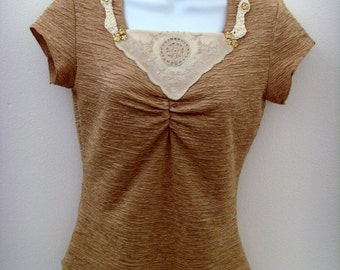 Textured Gold Top / Beige Gold Top / Upcycled / Vintage Applique, Crochet Trim, Faux Gold Jewels / SZ Medium / OOAK Gift Under 35