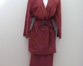 Vintage Cinnamon Spice Suit / Belted Jacket & Long Skirt / Burnt Sienna - Orange / Unique Design Details / 1980s Barbara Barbara / Size 10