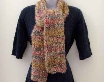 Hand Knit Chunky Scarf / Tan - Blue - Raspberry Pink - Green Scarf / Variegated Color Pattern / 58 x 6 Inches / OOAK / Gift Under 40