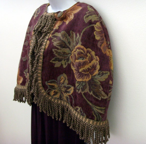 Floral Damask Capelet / Maiden of the Manor Fashion Cape / Bullion Fringe / Aubergine - Eggplant - Sage Green - Gold / Jewel Tone / OOAK
