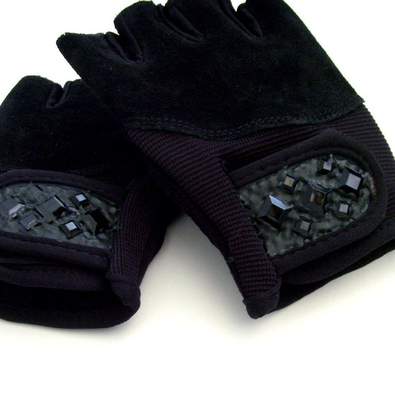 Black Strength Training Gloves / Ladies SMALL-MEDIUM / Black Vegan Suede Leather Fitness Gloves - Faux Jewels / Made to Order Gift Under 30