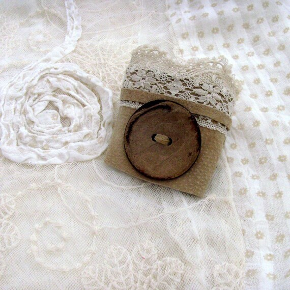 Rustic Romance Beige Suede Cuff / Upcycled Beige - Tan Suede / Vintage Cream Lace / Coconut Button / OOAK / Gift Under 35