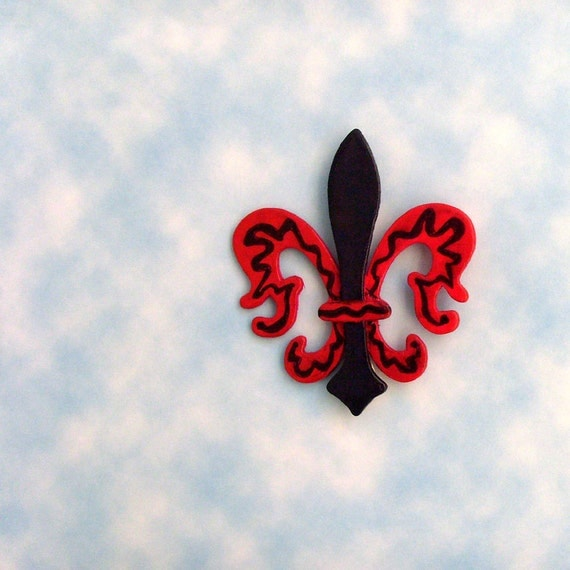 Fleur De Lis Brooch - Lapel Pin / Red and Navy Blue Painted Wood Brooch / Gift Under 15 / Unique Accessory / CLEARANCE