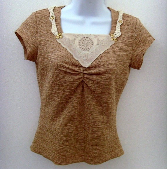 Textured Gold Top / Beige Gold Top / Upcycled / Vintage Applique, Crochet Trim, Faux Gold Jewels / SZ Medium, OOAK Gift Under 25 / CLEARANCE