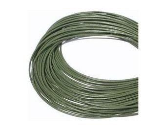 1.5mm Olive Green Greek Leather Round Cord 41111 (5 meters), Jewelry Cording, Necklace Cord, Bracelet Cording,  1.5mm Leather Cord