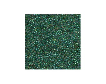 Miyuki Seed Beads 11/0 Silver-Lined Green AB 11-1016 24g Japanese Seed Beads, Green Seed Beads, Glass Seed Beads, Rocaille Seed Beads