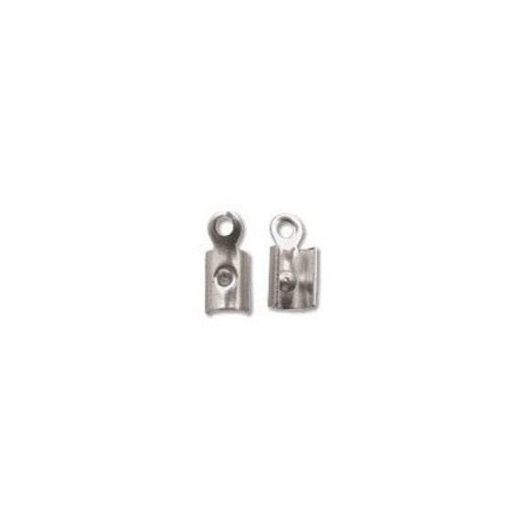 Cording Connectors Crimp Ends Silvertone 41059 (144) Silver Color