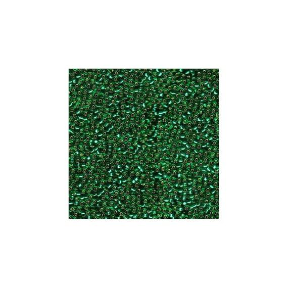 Miyuki Seed Beads 11/0 Silver-Lined Green 11-17 24grams, Small Glass Beads, Japanese Seed Beads, Size 11 Seed Beads, Glass Beads,
