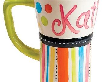 Personalized Travel Coffee Mug - Confetti Dots
