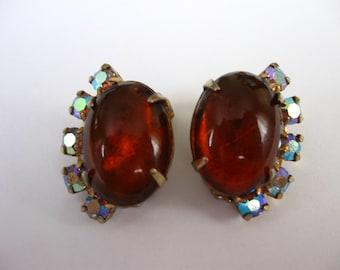 Vintage 50's amber aurora borealis clip on earrings