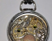 Upcycled pocket watch pendant jewelry necklace goddess art one of a kind created in Michigan