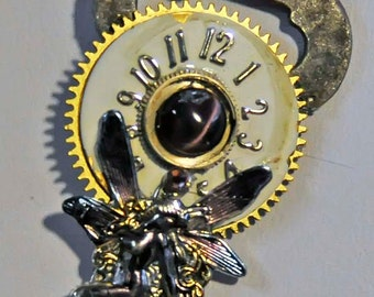 Key fairy fay faerie camera bird your choice pendant necklace victorian steampunk watch parts artist created in Michigan