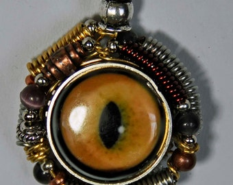 Cat kitten eyeball eye art porcelain pendant wire wrapped  unisex upcycled  steampunk goth