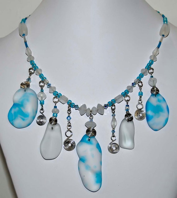Beach sea glass aqua blues the perfect  wirewrapped one of a kind necklace and earring set artist made in michigan