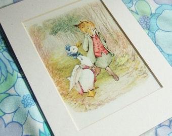 Jemima Puddleduck Print - Vintage Beatrix Potter Illustration in Card Mount, Ready to frame