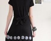 Black Friday Cyber Monday Sale -Fun Black Party Dress . V-neck dress . Handmade Applique Dress -Big eyes
