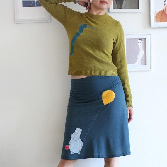 Teal Blue Knee Length A line Skirt . Plus size skirt . Jersey maternity skirt - Happy hippopotamos - size Large