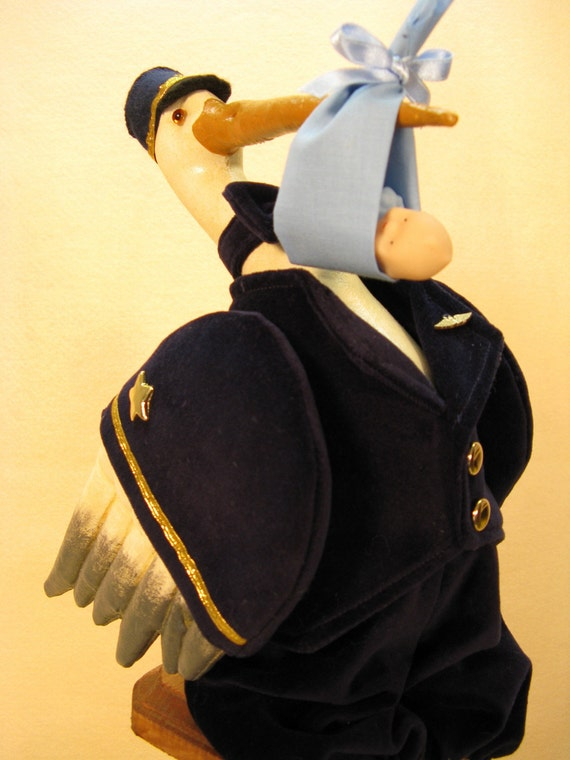 Airline Pilot Baby Delivery Stork Collectible Doll