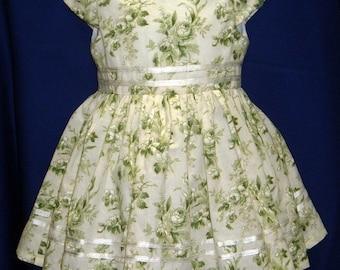 OOAK Toddler Green Rose Floral Print Dress w/Crinoline - Size 2T
