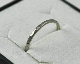 Skinny 14K Palladium White Gold 1mm Ring, Hammered Texture, Wedding Band, Sea Babe Jewelry