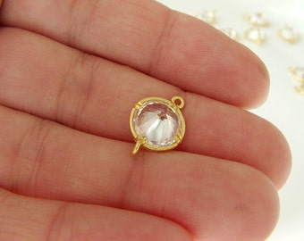 2pcs- Matte Gold Plated White Crystal, Rhinestone Connector-15x10mm (001-029GP)
