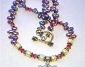 STAR of DAVID CZ Fresh Water Pearls Swarovski Crystals Necklace