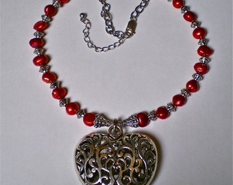 RUBY RED HEART Necklace for Her