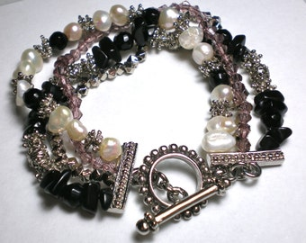 PEARLS and CRYSTALS BLING Bracelet