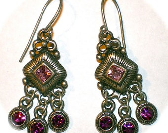 BELLY DANCER AMETHYST Dangling Earrings