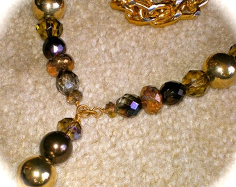 GOLD Chains and CRYSTAL Balls Beaded Necklace