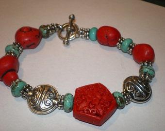 Tribal TURQUOISE CINNABAR CORAL Asian Bracelet